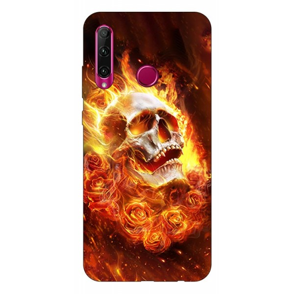 Husa Silicon Soft Upzz Print Huawei P40 Lite E Model Flame Skull imagine itelmobile.ro 2021