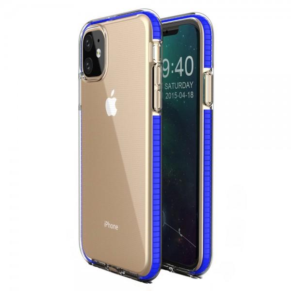 Husa Spate Upzz Spring iPhone 11 ,silicon 1mm ,rezistenta La Socuri ,transparenta Cu Margine Albastru imagine itelmobile.ro 2021
