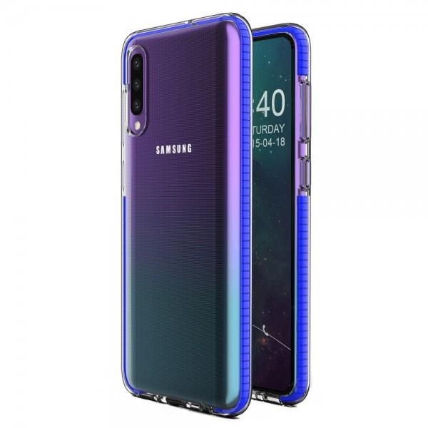 Husa Spate Upzz Spring Samsung Galaxy A70 ,silicon 1mm ,rezistenta La Socuri ,transparenta Cu Margine Albastru imagine itelmobile.ro 2021