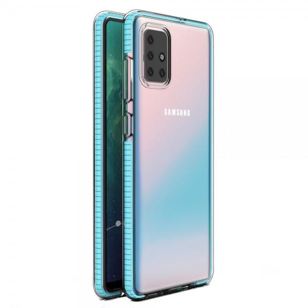 Husa Spate Upzz Spring Samsung Galaxy A71, Silicon 1mm ,rezistenta La Socuri ,transparenta Cu Margine Albastru Deschis imagine itelmobile.ro 2021