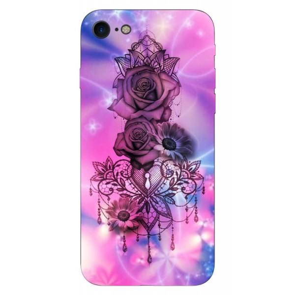 Husa Silicon Soft Upzz Print iPhone Se 2 ( 2020 ) ,model Neon Rose imagine itelmobile.ro 2021