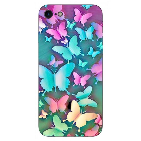 Husa Silicon Soft Upzz Print iPhone Se 2 ( 2020 ) ,model Colorfull Butterflies imagine itelmobile.ro 2021