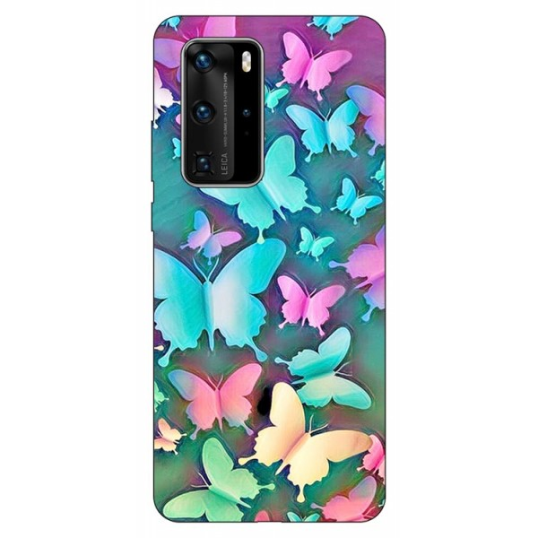 Husa Silicon Soft Upzz Print Huawei P40 Pro Model Colorfull Butterflies imagine itelmobile.ro 2021