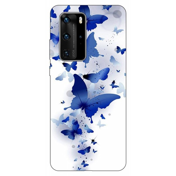 Husa Silicon Soft Upzz Print Huawei P40 Pro Model Blue Butterflies imagine itelmobile.ro 2021