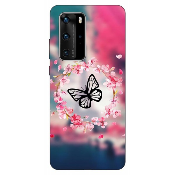Husa Silicon Soft Upzz Print Huawei P40 Pro Model Butterfly imagine itelmobile.ro 2021