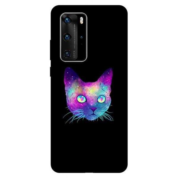 Husa Silicon Soft Upzz Print Huawei P40 Pro Model Neon Cat imagine itelmobile.ro 2021