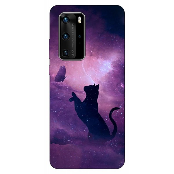 Husa Silicon Soft Upzz Print Huawei P40 Pro Model Shadow Cat imagine itelmobile.ro 2021