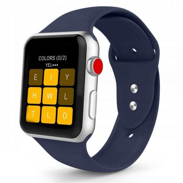 Curea Smooth Band Upzz Tech Protect ,compatibila Cu Apple Watch 1/2/3/4/5 (42/44mm), Navy Blue imagine itelmobile.ro 2021