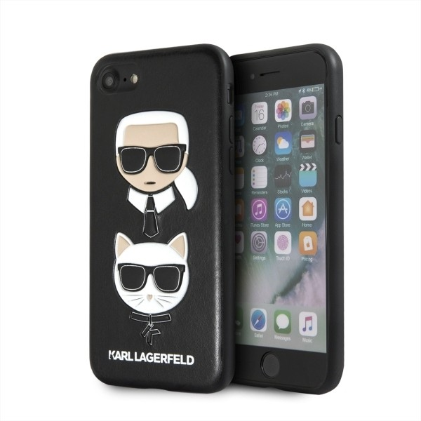 Husa Premium Originala Karl Lagerfeld iPhone Se 2 ( 2020 ) ,colectia Karl Si Choupette ,piele ,negru - Klhci8kickc imagine itelmobile.ro 2021