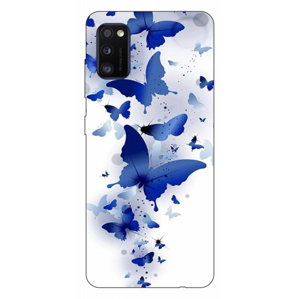 Husa Silicon Soft Upzz Print Samsung Galaxy Galaxy A41 Model Blue Butterflies imagine itelmobile.ro 2021