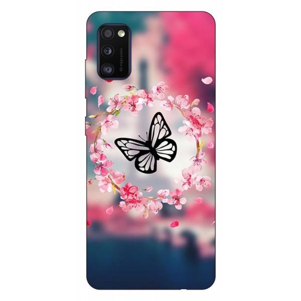 Husa Silicon Soft Upzz Print Samsung Galaxy Galaxy A41 Model Butterfly imagine itelmobile.ro 2021