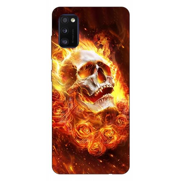 Husa Silicon Soft Upzz Print Samsung Galaxy Galaxy A41 Model Flame Skull imagine itelmobile.ro 2021
