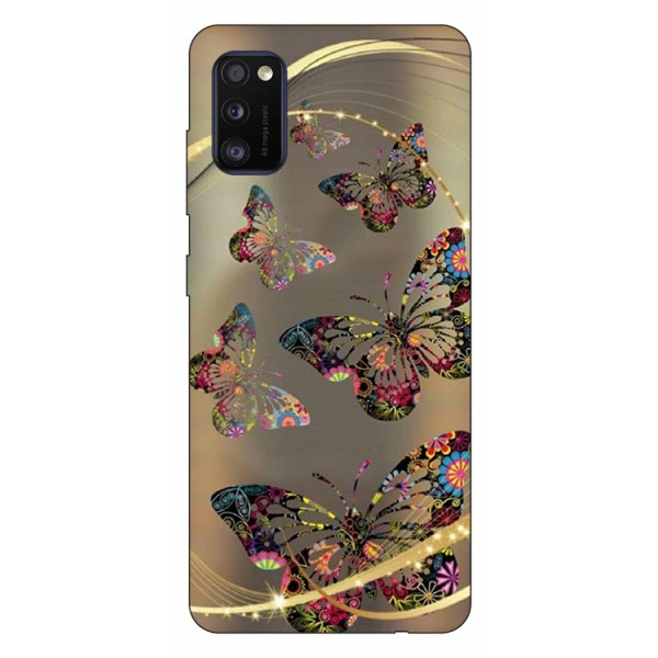 Husa Silicon Soft Upzz Print Samsung Galaxy Galaxy A41 Model Golen Butterfly imagine itelmobile.ro 2021