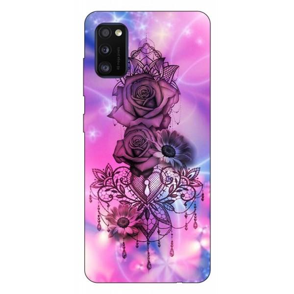 Husa Silicon Soft Upzz Print Samsung Galaxy Galaxy A41 Model Neon Rose imagine itelmobile.ro 2021
