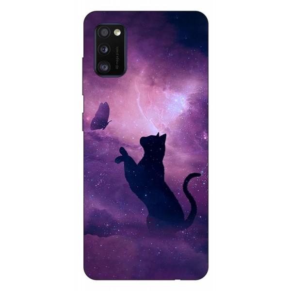Husa Silicon Soft Upzz Print Samsung Galaxy Galaxy A41 Model Shadow Cat imagine itelmobile.ro 2021
