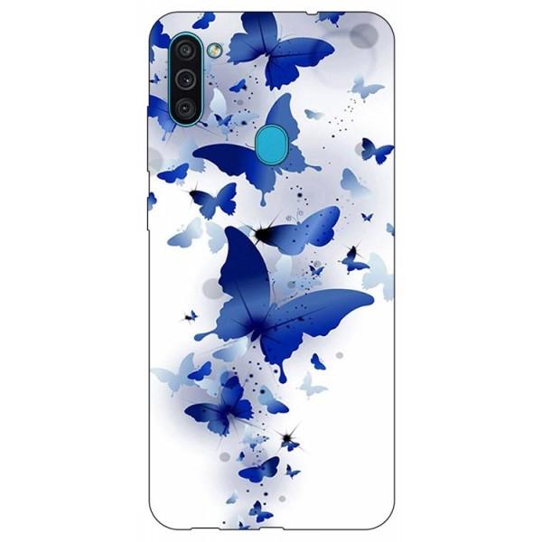 Husa Silicon Soft Upzz Print Samsung Galaxy A11 Model Blue Butterflies imagine itelmobile.ro 2021