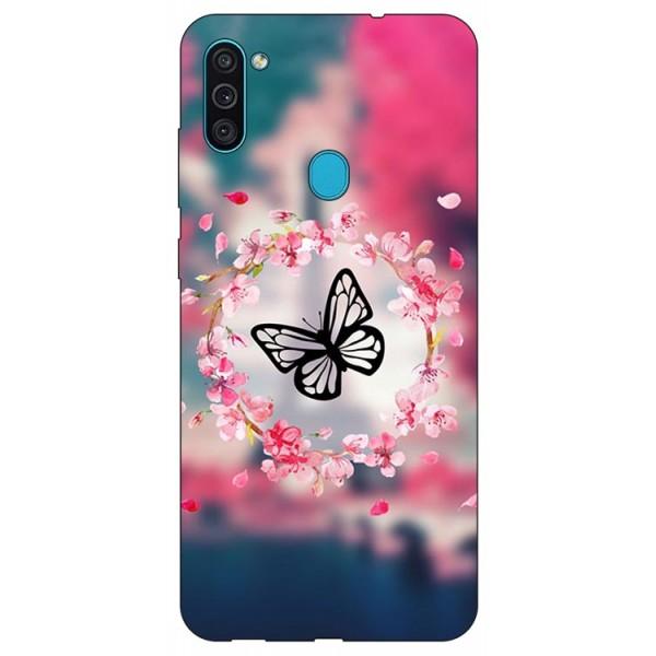 Husa Silicon Soft Upzz Print Samsung Galaxy A11 Model Butterfly imagine itelmobile.ro 2021