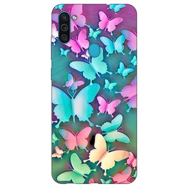 Husa Silicon Soft Upzz Print Samsung Galaxy A11 Model Colorfull Butterflies imagine itelmobile.ro 2021