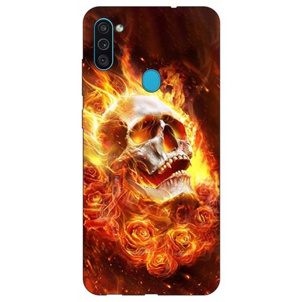 Husa Silicon Soft Upzz Print Samsung Galaxy A11 Model Flame Skull imagine itelmobile.ro 2021
