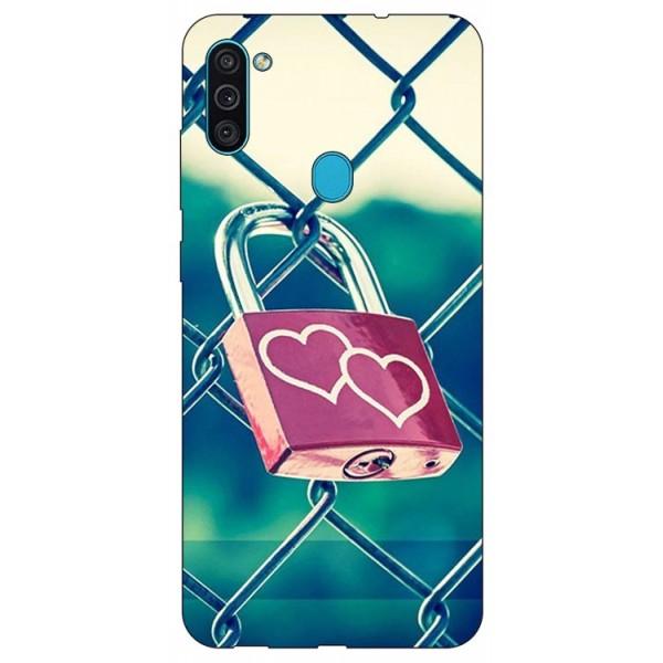 Husa Silicon Soft Upzz Print Samsung Galaxy A11 Model Heart Lock imagine itelmobile.ro 2021