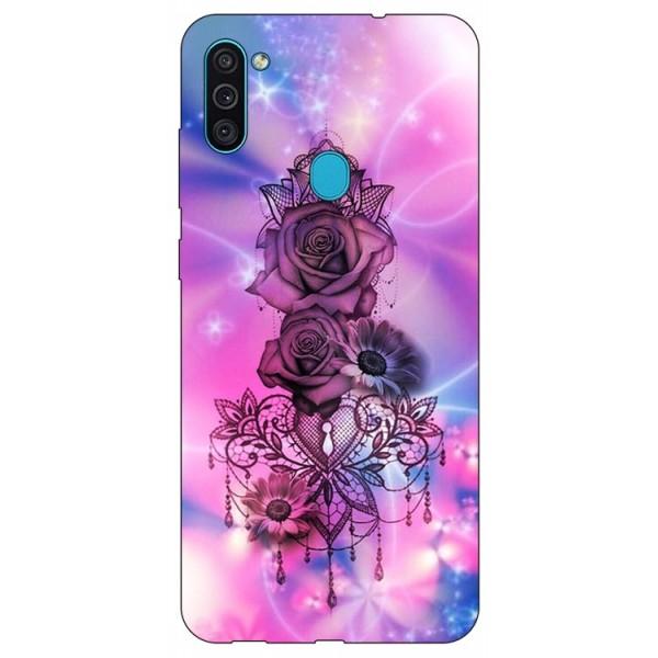 Husa Silicon Soft Upzz Print Samsung Galaxy A11 Model Neon Rose imagine itelmobile.ro 2021