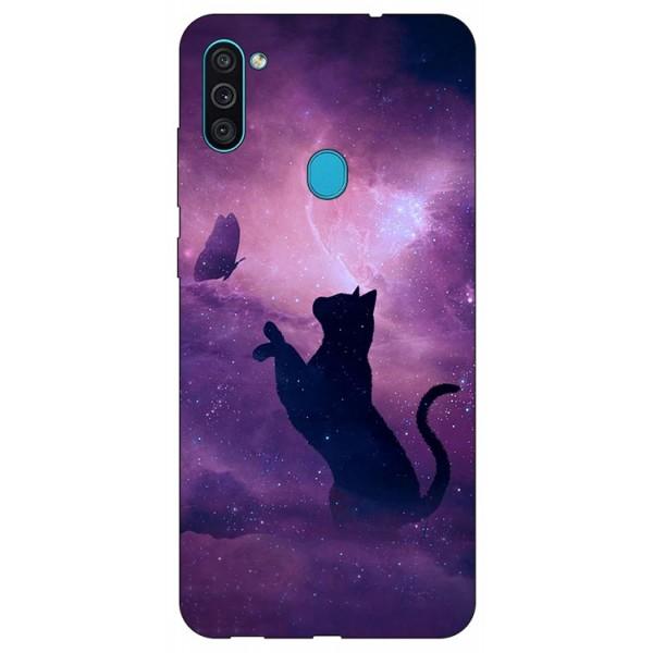 Husa Silicon Soft Upzz Print Samsung Galaxy A11 Model Shadow Cat imagine itelmobile.ro 2021