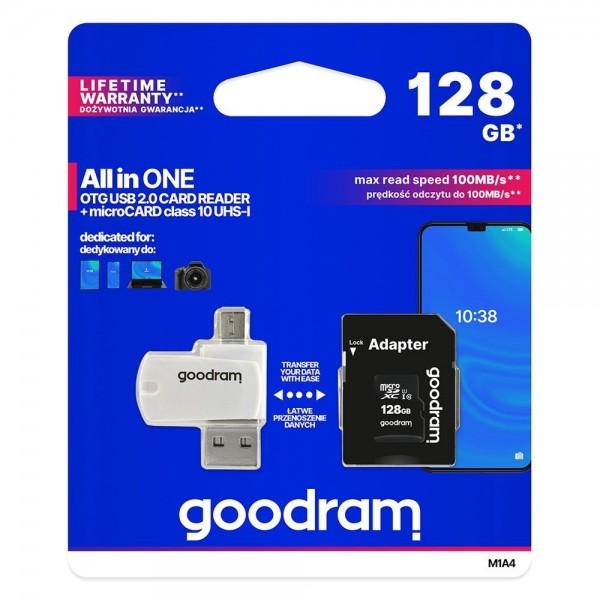 Card Microsd Goodram All In One 128gb Uhs-i ,clasa 10 ,adaptor Sd ,cititor Microsd Otg imagine itelmobile.ro 2021