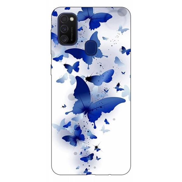 Husa Silicon Soft Upzz Print Samsung Galaxy M21 Model Blue Butterflies imagine itelmobile.ro 2021