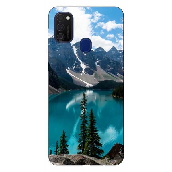 Husa Silicon Soft Upzz Print Samsung Galaxy M21 Model Blue imagine itelmobile.ro 2021