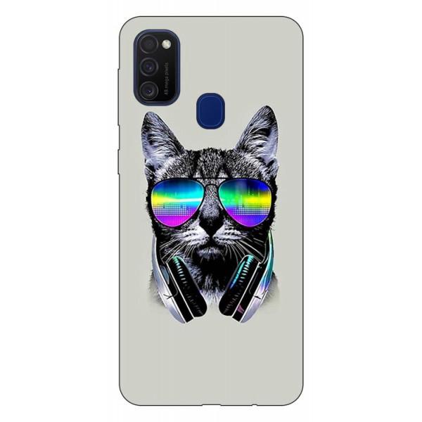 Husa Silicon Soft Upzz Print Samsung Galaxy M21 Model Cat imagine itelmobile.ro 2021