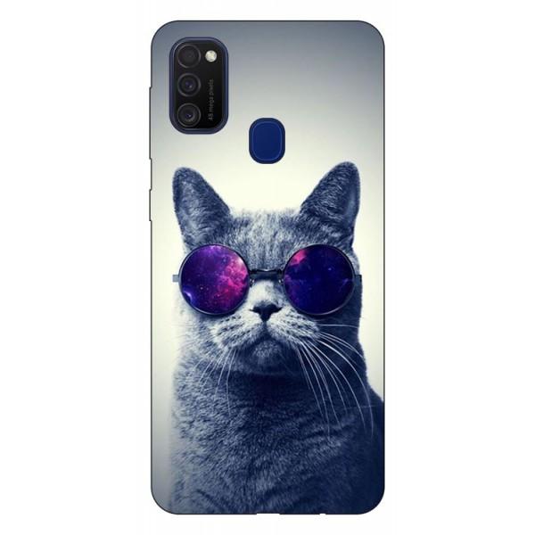 Husa Silicon Soft Upzz Print Samsung Galaxy M21 Model Cool Cat imagine itelmobile.ro 2021