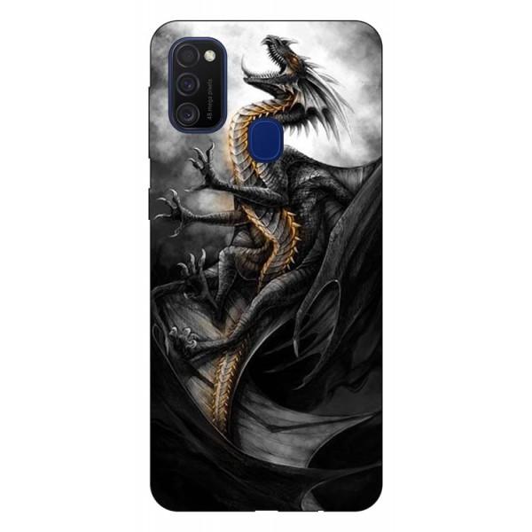 Husa Silicon Soft Upzz Print Samsung Galaxy M21 Model Dragon 1 imagine itelmobile.ro 2021