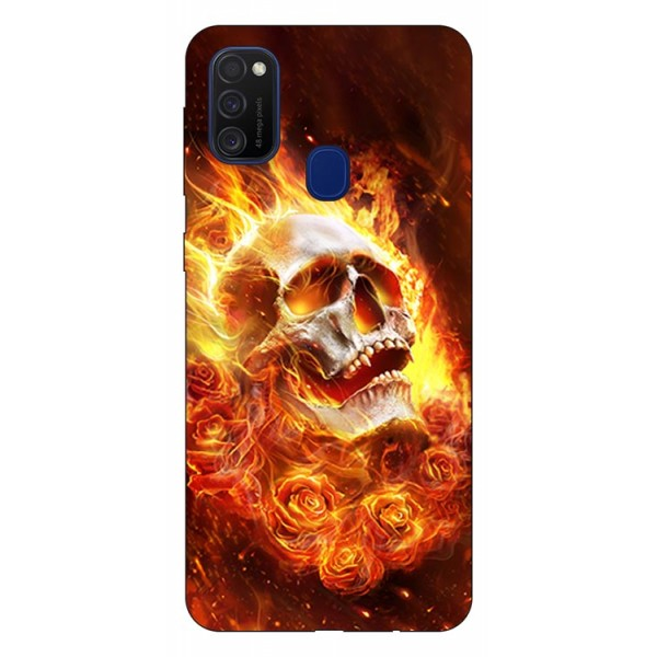 Husa Silicon Soft Upzz Print Samsung Galaxy M21 Model Flame Skull imagine itelmobile.ro 2021