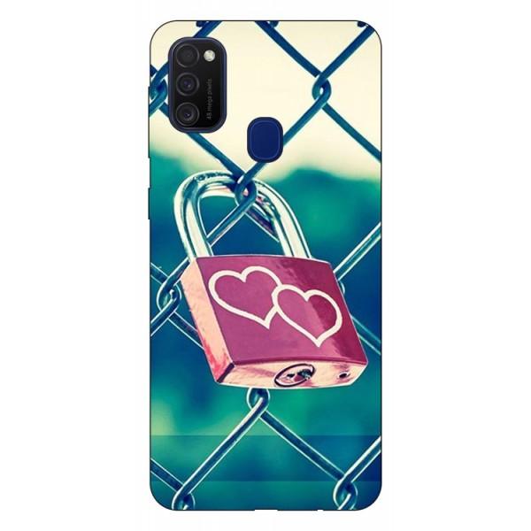 Husa Silicon Soft Upzz Print Samsung Galaxy M21 Model Heart Lock imagine itelmobile.ro 2021