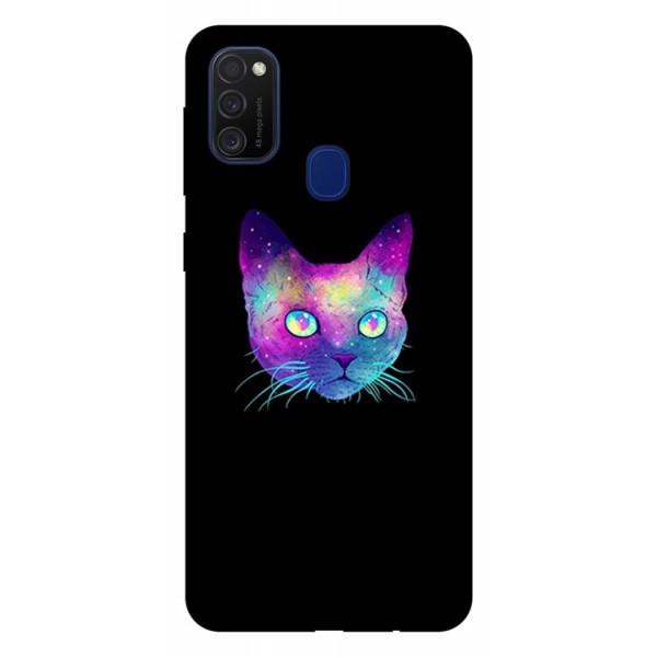 Husa Silicon Soft Upzz Print Samsung Galaxy M21 Model Neon Cat imagine itelmobile.ro 2021