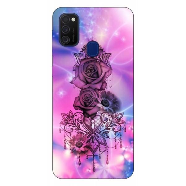 Husa Silicon Soft Upzz Print Samsung Galaxy M21 Model Neon Rose imagine itelmobile.ro 2021