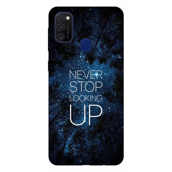 Husa Silicon Soft Upzz Print Samsung Galaxy M21 Model Never Stop imagine itelmobile.ro 2021