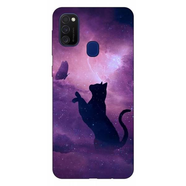 Husa Silicon Soft Upzz Print Samsung Galaxy M21 Model Shadow Cat imagine itelmobile.ro 2021