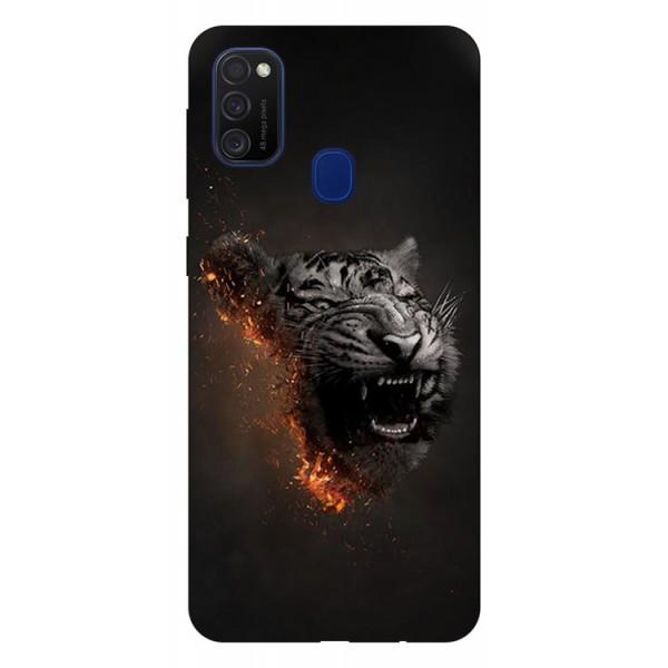 Husa Silicon Soft Upzz Print Samsung Galaxy M21 Model Tiger imagine itelmobile.ro 2021