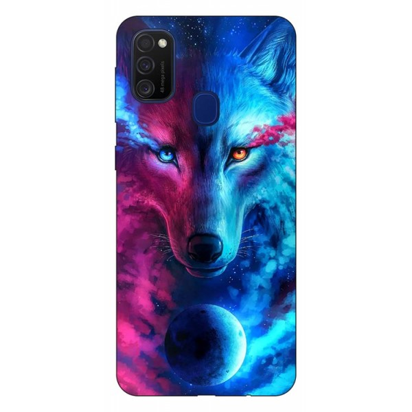 Husa Silicon Soft Upzz Print Samsung Galaxy M21 Model Wolf imagine itelmobile.ro 2021