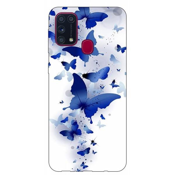 Husa Silicon Soft Upzz Print Samsung Galaxy M31 Model Blue Butterflies imagine itelmobile.ro 2021