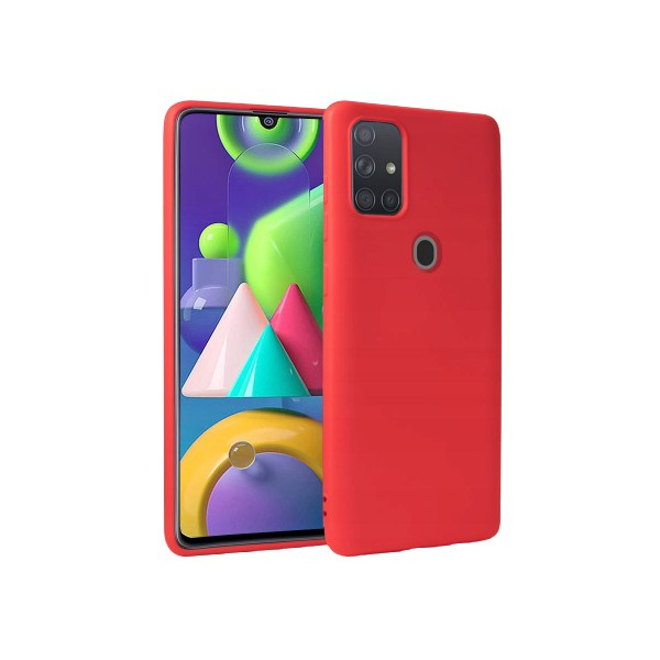 Husa Premium Upzz Liquid Silicon Pentru Samsung Galaxy M21 Cu Invelis Alcantara La Interior , Rosu imagine itelmobile.ro 2021