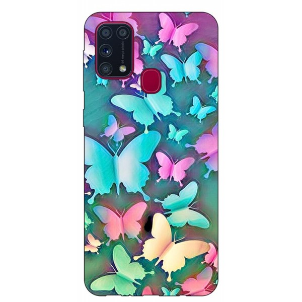Husa Silicon Soft Upzz Print Samsung Galaxy M31 Model Colorfull Butterflies imagine itelmobile.ro 2021