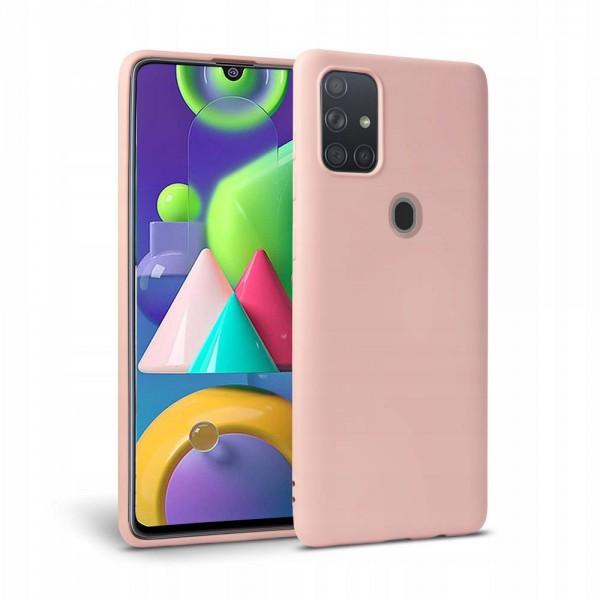 Husa Premium Upzz Liquid Silicon Pentru Samsung Galaxy M21 Cu Invelis Alcantara La Interior , Roz imagine itelmobile.ro 2021