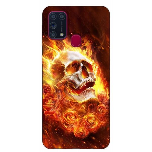 Husa Silicon Soft Upzz Print Samsung Galaxy M31 Model Flame Skull imagine itelmobile.ro 2021