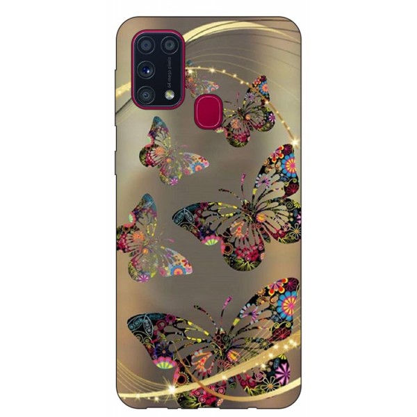 Husa Silicon Soft Upzz Print Samsung Galaxy M31 Model Golden Butterfly imagine itelmobile.ro 2021