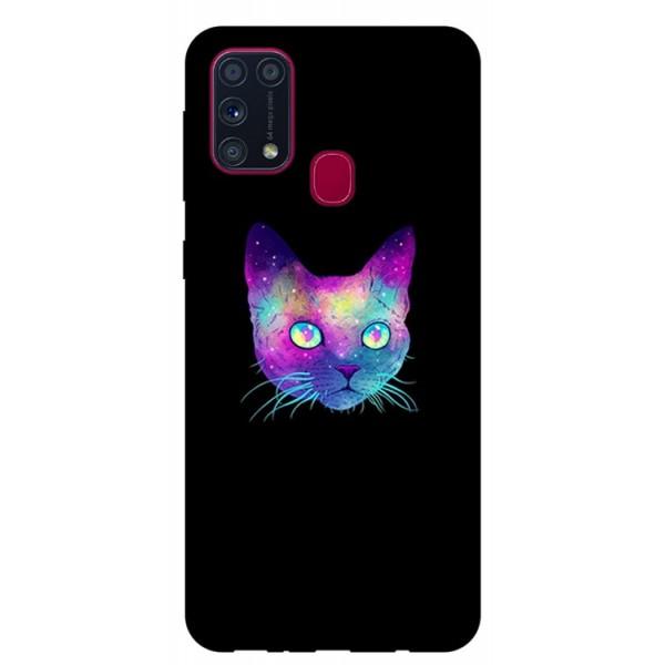 Husa Silicon Soft Upzz Print Samsung Galaxy M31 Model Neon Cat imagine itelmobile.ro 2021