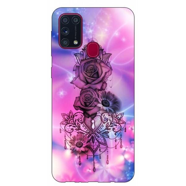 Husa Silicon Soft Upzz Print Samsung Galaxy M31 Model Neon Rose imagine itelmobile.ro 2021