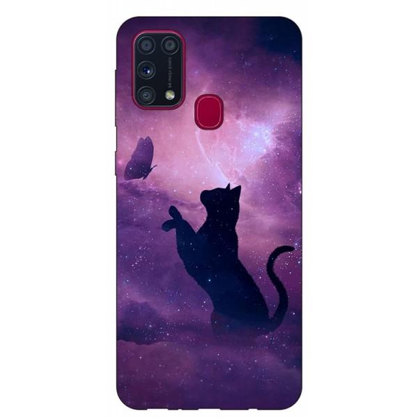 Husa Silicon Soft Upzz Print Samsung Galaxy M31 Model Shadow Cat imagine itelmobile.ro 2021