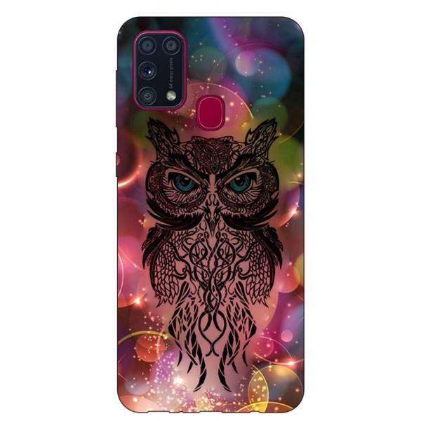 Husa Silicon Soft Upzz Print Samsung Galaxy M31 Model Sparkle Owl imagine itelmobile.ro 2021